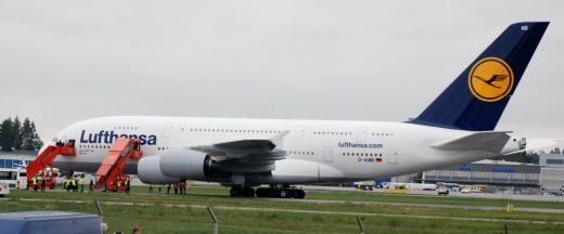 Lufthansa A380 at Helsinki